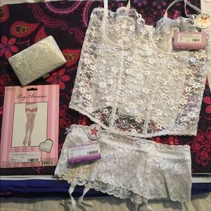 White lace lingerie and locket purse